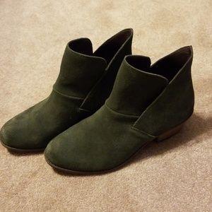 Olive green suede booties